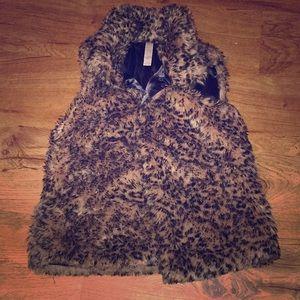 Cheetah print fur vest